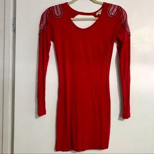 Red Long Sleeve Arden B Mini Dress w/Rhinestones